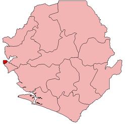 Location of Western Area Urban District in Sierra Leone