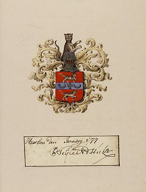 Pieter Teyler van der Hulst - Signature and blazon of Pieter Teyler.