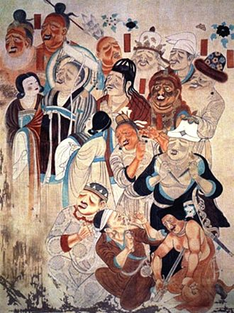 Silk Road transmission of Buddhism - Peoples of the Silk Road. Mogao Caves, Dunhuang, China, 9th century