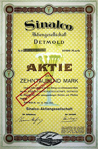 Sinalco - Share of the Sinalco AG, issued 22. March 1923
