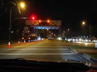 Electronic Road Pricing - Night works during the installation of a new ERP gantry at Hill View