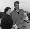 Sir Edmund and Lady Louise Hillary with their son Peter, 1955.jpg