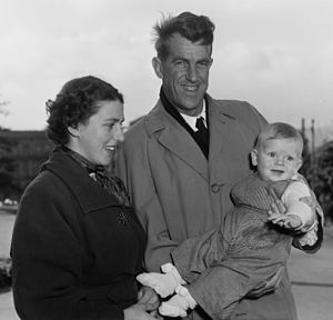 Peter Hillary - Peter Hillary as an infant, with his parents, Louise and Edmund, 1955