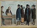 Sir Robert Peel leads a queue for a coach but is told by the Wellcome V0050246.jpg