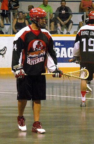 OLA Senior B Lacrosse League - Isaiah Kicknosway of Six Nations Rivermen in 2014.
