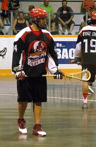 OLA Senior B Lacrosse League - Isaiah Kicknosway of Six Nations Rivermen in 2014.