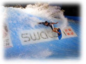 Wave Loch - Kelly Slater carving the mobile FlowBarrel during the Swatch Wave Tour, 1999