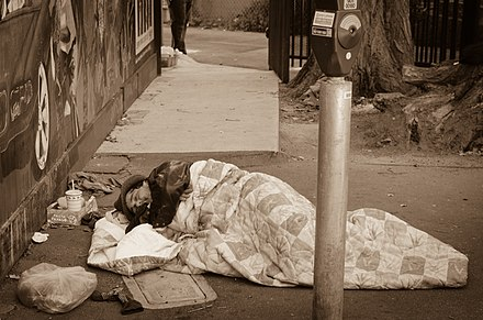 People who live in poverty, such as homeless people, have low levels of access to computers and Internet or a lack of familiarity with these technologies. This means that these marginalized people are not able to use social media tools to find information, jobs, housing, and other necessities. Sleeping in a Parking Lot.jpg