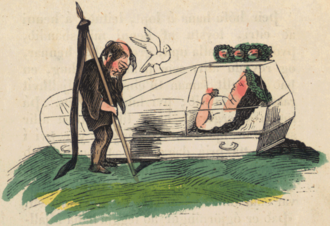Suspended animation in fiction - An 1852 depiction of Snow White laid in a glass coffin during her period of magically induced suspended animation.
