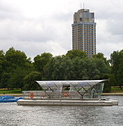 The Solarshuttle, moored in front of Hyde Park Barracks