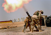 Soldiers firing a M120 120mm mortar (Iraq)