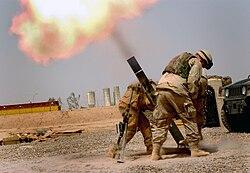 Soldiers firing a M120 120mm mortar (Iraq)