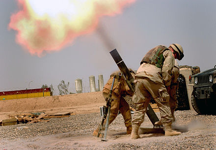 U.S. troops fire mortars. Soldiers firing a M120 120mm mortar (Iraq).jpg