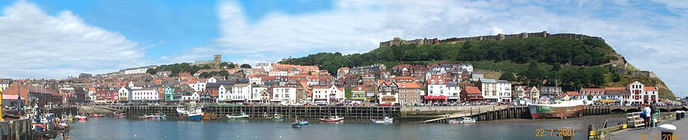 Scarborough Castle dominates the promontory overlooking the town.