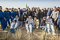 Soyuz TMA-08M crew shortly after landing.jpg
