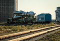 Soyuz TMA-09M spacecraft roll out by train 2.jpg