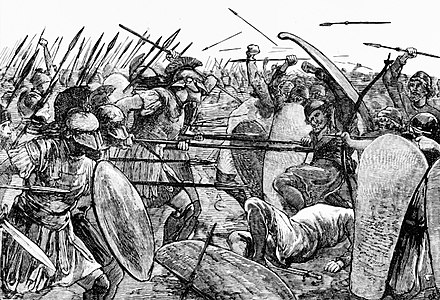 Scene of the Battle of Plataea. 19th century illustration. Spartans at Plataea.jpg