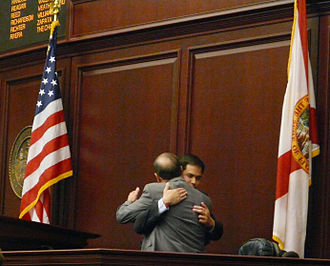 Marco Rubio - House Speaker Rubio and Senate President Ken Pruitt embrace after the House's unanimous approval of the Senate's resolution to formally express deep regret for slavery. March 2008