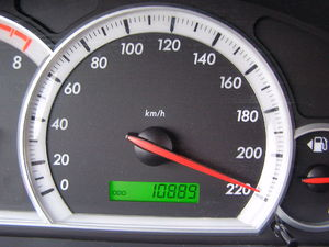 A speedometer using kilometres per hour. (km/h...