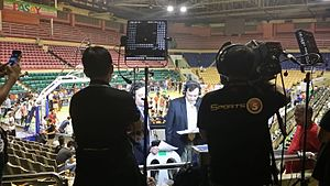 PBA on ESPN 5 - Magoo Marjon and Quinito Henson anchors a game between San Miguel Beermen and NLEX Road Warriors at the Cuneta Astrodome last December 9, 2015.