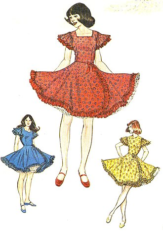 Modern western square dance - Traditionally-styled square dance dresses; note the full skirts and petticoats