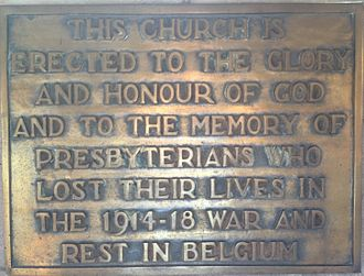 St Andrew's Church, Brussels - Plaque in the church describing how it was built to commemorate the 1st World War dead.