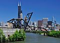 St. Charles Air Line Bridge and ex-B&O bridge with Chicago skyline.jpg