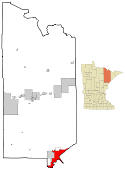 St. Louis County Minnesota Incorporated and Unincorporated areas Duluth Highlighted.svg