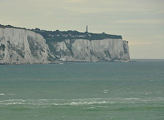 Dover Patrol Monument - Image: St Margaret's at Cliffe and memorial from Strait of Dover