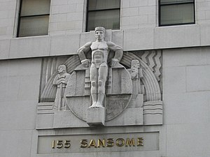 Timothy L. Pflueger - Ralph Stackpole's monumental stone figures top the entrance to 155 Sansome, the Stock Exchange Tower.