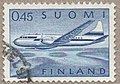 Stamp of Finland - 1963 - Colnect 556497 - Aircraft Convair 440 over Lake Landscape.jpeg