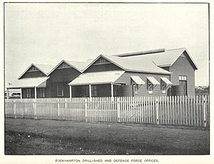 Training Depot Drill Hall Complex, Rockhampton - Rockhampton drill shed and defence force offices, circa 1913