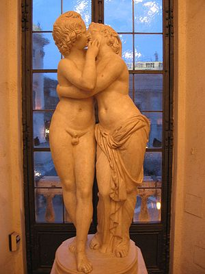 Sculpture of Cupid and Psyche, an example of the sensualism of Hellenistic art. 2nd-century AD Roman copy of a 2nd-century BC Greek original. Statua di Amore e Psiche.jpg