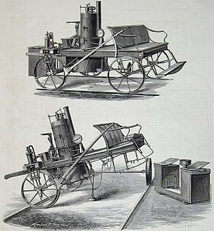"""Oudh and Rohilkhand Railway - """"Steam Trolly for the Oude and Rohilkund Railway, constructed by Joseph Green Cooke, Locomotive and Carriage Superintendent"""""""