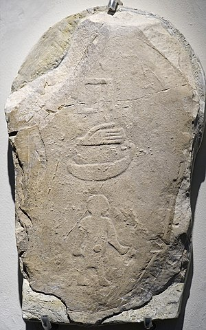 Court dwarf - Stele hieroglyph depicting the court dwarf Hed, who died with his master (RMO Rijkmuseum at Leiden abydos, found in the tomb of the Egyptian Pharaoh Den, 2850 BCE, 1d)