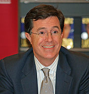 Stephen Colbert satirizes an opinionated and self-righteous television commentator on his Comedy Central program in the United States.