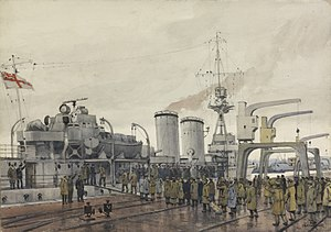 HMS Concord (1916) - Liberated UK prisoners of war boarding Concord in Stettin on New Year's Day 1919