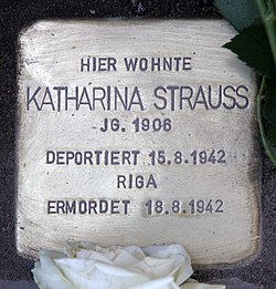 Photo of Katharina Strauss brass plaque