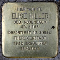 Photo of Elise Hiller brass plaque