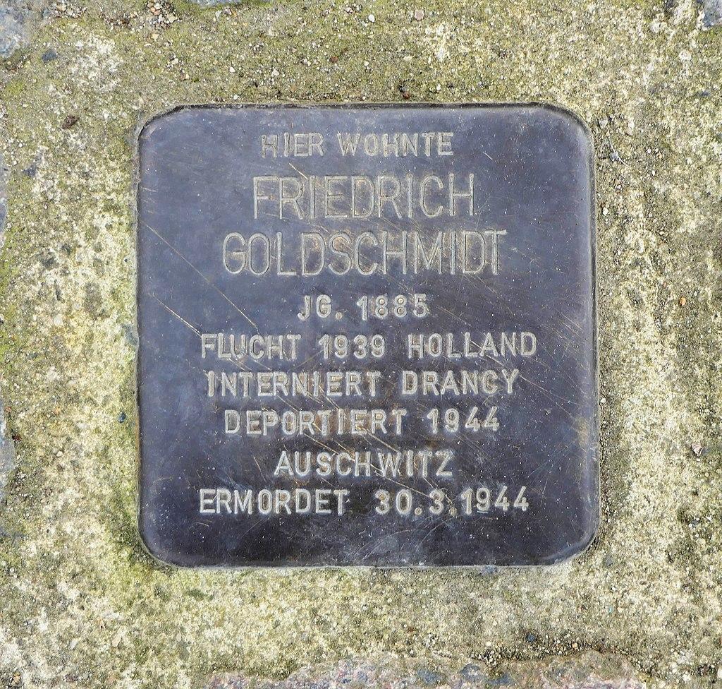 Stolperstein für Friedrich Goldschmidt, Dr.-Rudolf-Friedrich-Strasse 10, Wurzen.JPG