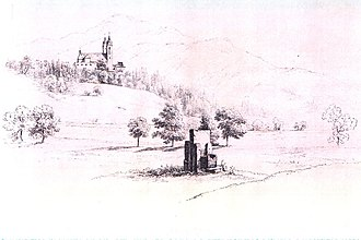"Duke's Chair - 1860 Drawing of the ""Duke's Chair"" with the Cathedral of Maria Saal in the background"