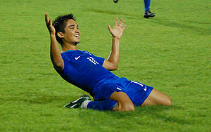 India national football team - Sunil Chhetri celebrating after scoring during the 2008 AFC Challenge Cup.