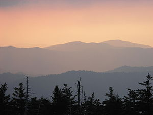 Sevier County, Tennessee - Mountains over Sevier County at sunset from the Great Smoky Mountains National Park