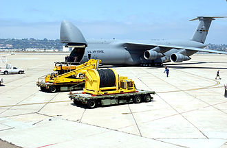 Scorpio ROV - A C-5 Galaxy is loaded with people and equipment from the Deep Submergence Unit, Naval Base Coronado. The C-5 is bringing two Super Scorpio robotic rescue vehicles to Russia to assist in the rescue.