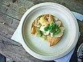 Surf Clam and sea urchin crudo tostada with jalapeno, cilantro, apple, & lime - 17182657222.jpg