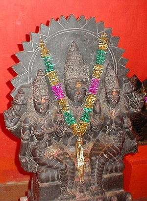 Saranyu - Surya with consorts Saranyu (Sanjna) and Chhaya