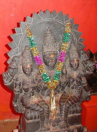 Saranyu - Surya with consorts Saranyu (Sandhya) and Chhaya