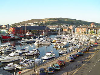 Swansea Marina - Shot of the South Dock area of the marina, taken from Trawler Road
