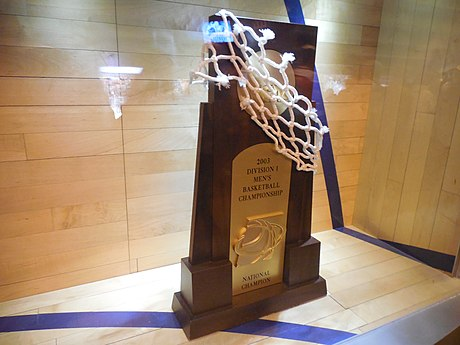 2003 NCAA Men's Basketball National Championship Trophy Syracuse Crunch vs. Utica Comets - November 22, 2014 (15862562151).jpg