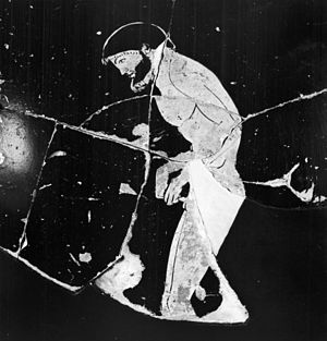 Kynodesme - Athlete infibulating himself (psykter by the Syriskos Painter, c. 480 BC)